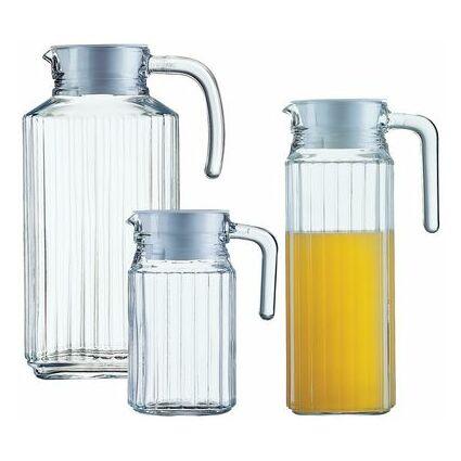 """Esmeyer Arcoroc Glaskrug """"Quadro"""", mit Deckel, 0,5 Liter"""