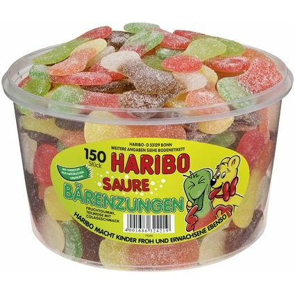 HARIBO Fruchtgummi Saure Bärenzungen, 150er Runddose