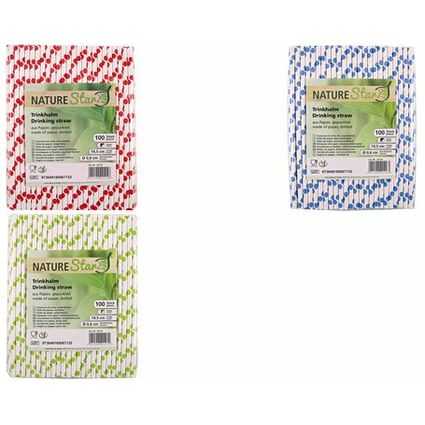 franz mensch Papier-Trinkhalm NATURE Star 197 mm grün//weiß gepunktet 100 Stück