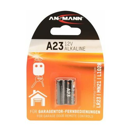 ANSMANN Kleinzelle, Alkaline Batterie, A23/LR23, 2er Blister