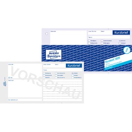 "AVERY Zweckform Formularbuch ""Kurzbrief"", 1/3 A4, 100 Blatt"