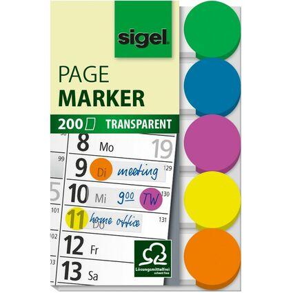 sigel Haftmarker mit farbigem Punkt, 50 x 12 mm, 200 Blatt