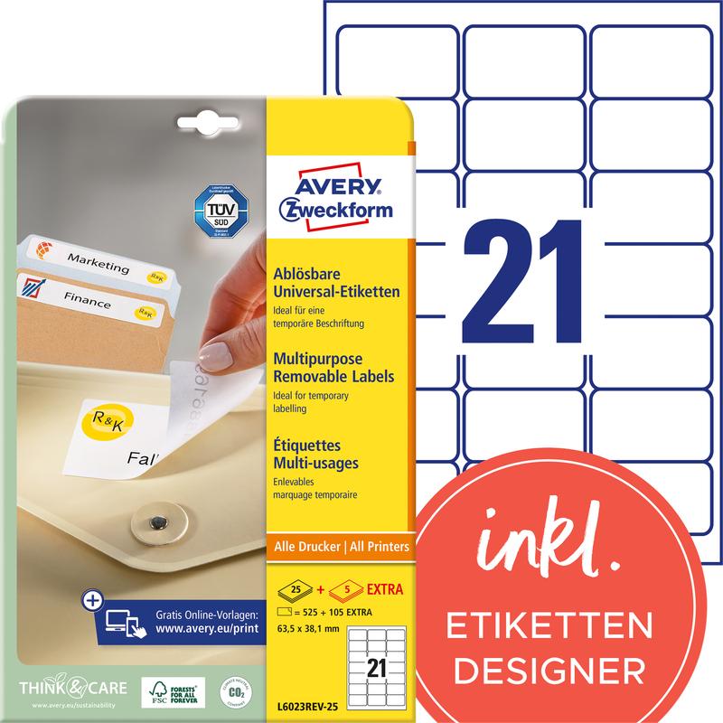 AVERY Zweckform Stick+Lift Etiketten 63,5 x 38,1 mm weiß 630 Etiketten