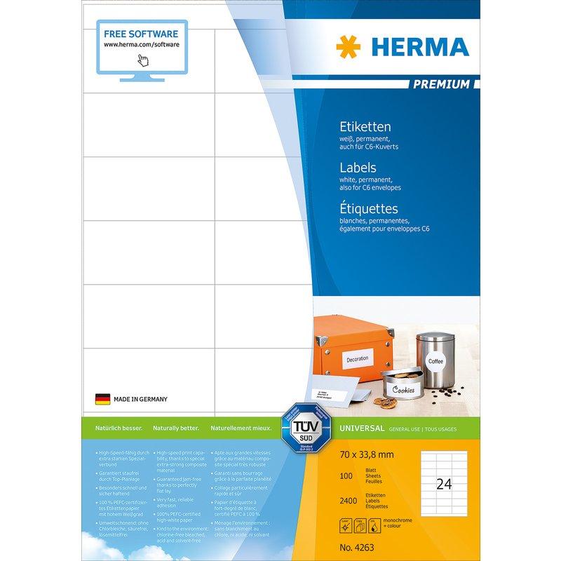 HERMA Universal Etiketten PREMIUM, 70 x 33,8 mm, weiß