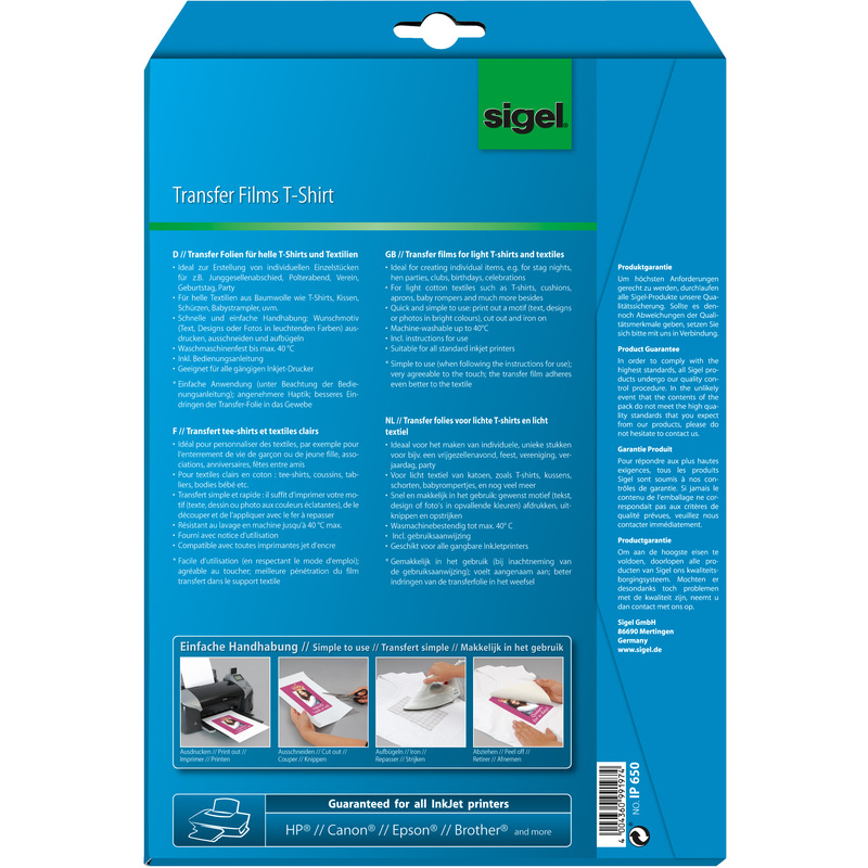 sigel t shirt inkjet transfer folien f r helle textilien ip651 bei g nstig kaufen. Black Bedroom Furniture Sets. Home Design Ideas