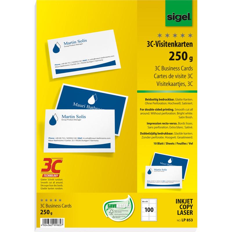 Sigel Visitenkarten 3c 85 X 55 Mm 250 G Qm Hochweiß