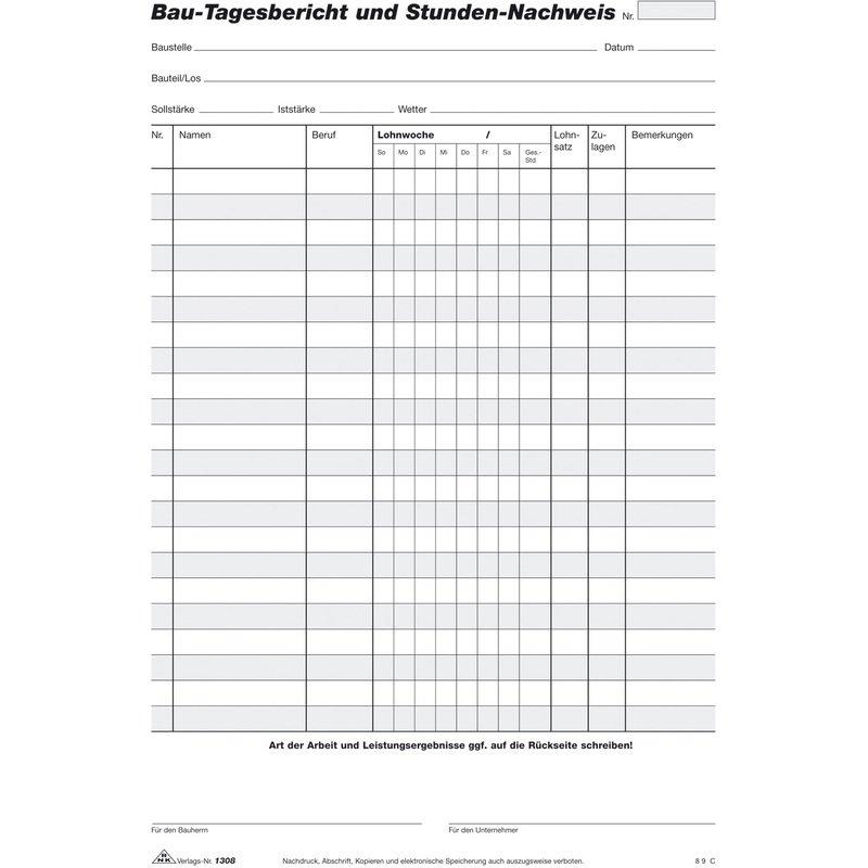 Rnk Verlag Vordruck Bau Tagesbericht Und Stundennachweis 1308 Bei Www Officeb2b At Gunstig Kaufen